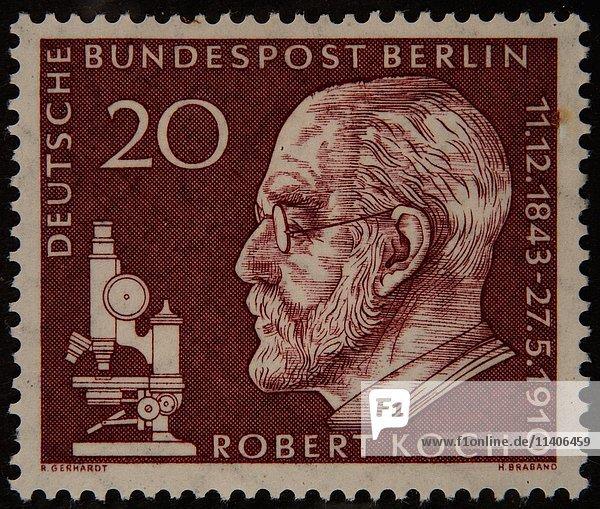 Robert Koch  ein deutscher Arzt  Porträt auf einer deutschen Briefmarke 1960