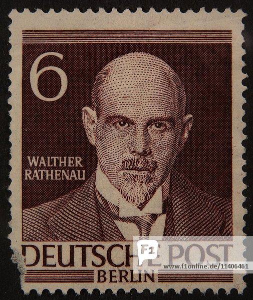 Walter Rathenau  ein deutscher Staatsmann  Porträt auf einer deutschen Briefmarke 1952