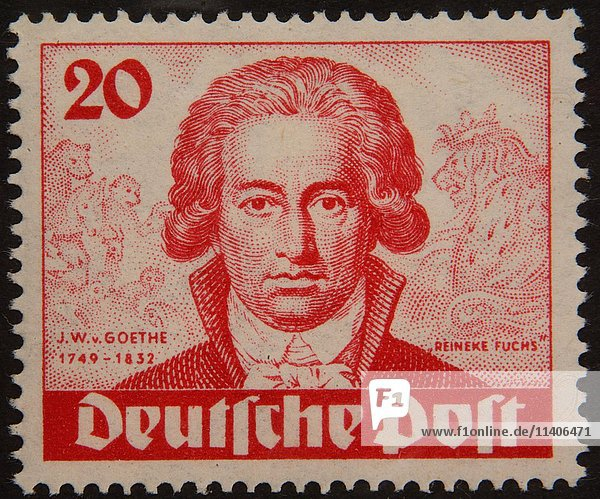Johann Wolfgang von Goethe  ein deutscher Schriftsteller und Staatsmann  Porträt auf einer deutschen Briefmarke 1949