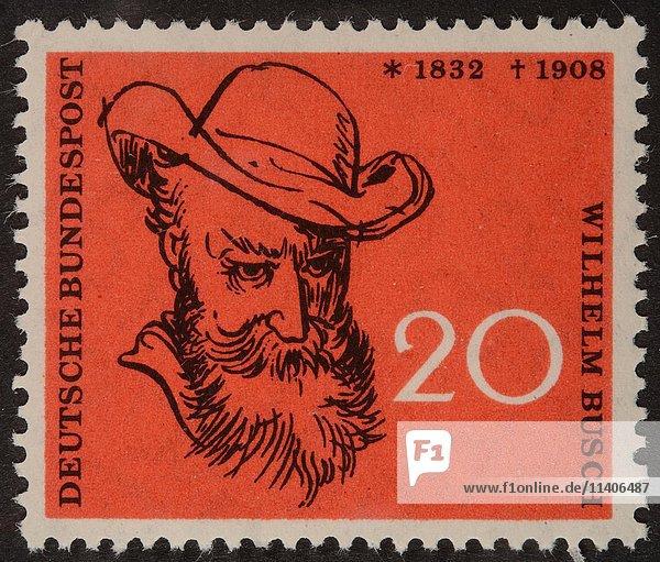 Deutsche Briefmarke  BRD  1958  Porträt von Wilhelm Busch  deutscher Humorist  Dichter  Zeichner und Maler