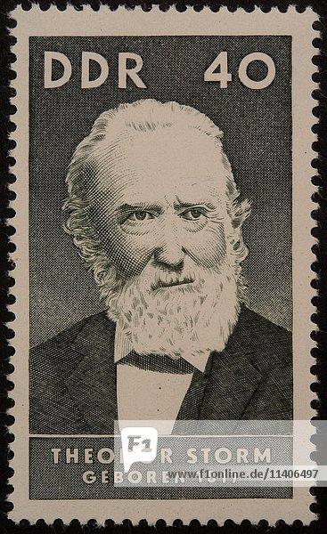 Deutsche Briefmarke  DDR  1967  Porträt von Theodor Storm  deutscher Schriftsteller