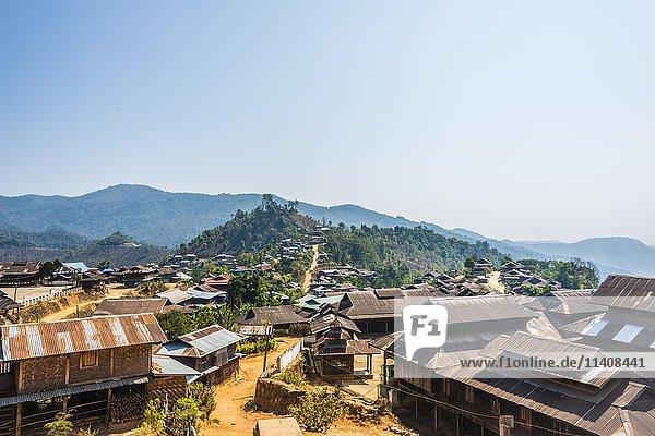 View of mountain village,  Palaung hilltribe,  Palaung Village,  Kyaukme,  Shan State,  Myanmar,  Asia, View of mountain village,  Palaung hilltribe,  Palaung Village,  Kyaukme,  Shan State,  Myanmar,  Asia