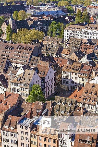 Ausblick auf die Dächer der Altstadt  Straßburg  Elsass  Frankreich  Europa