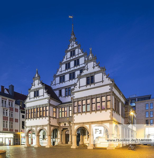 City hall at dusk  Weser Renaissance  Paderborn  North Rhine-Westphalia  Germany  Europe