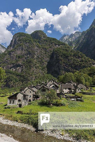 Ortsansicht Roseto  Bavonatal  Valle Bavona  Kanton Tessin  Schweiz  Europa