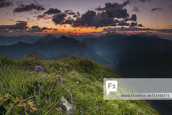 Berge des Außerfern bei Sonnenaufgang  Elemen  Lechtal  Außerfern  Tirol  Österreich  Europa