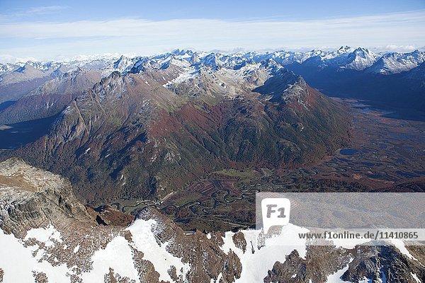 Luftbild  Berge und Seen  Tierra del Fuego Nationalpark  Feuerland  Anden  Argentinen Luftbild, Berge und Seen, Tierra del Fuego Nationalpark, Feuerland, Anden, Argentinen