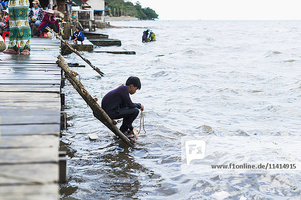 'Local life in the famous Crab Market of Kep; Kep  Cambodia'