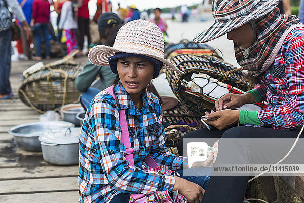 'Local life in the famous Crab Market; Kep  Cambodia'