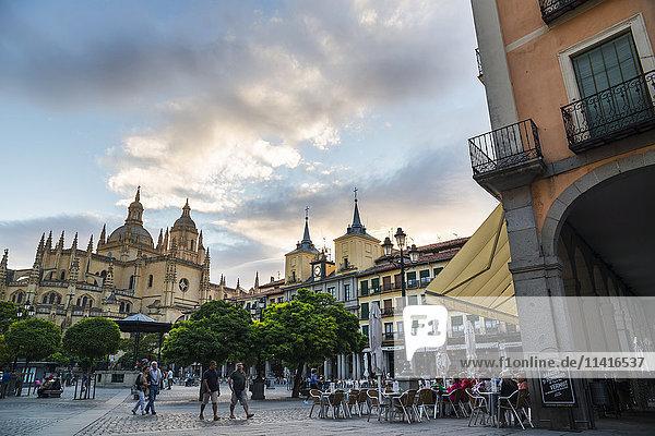'Segovia's Cathedral viewed from Plaza Mayor; Segovia  Castilla Leon  Spain'