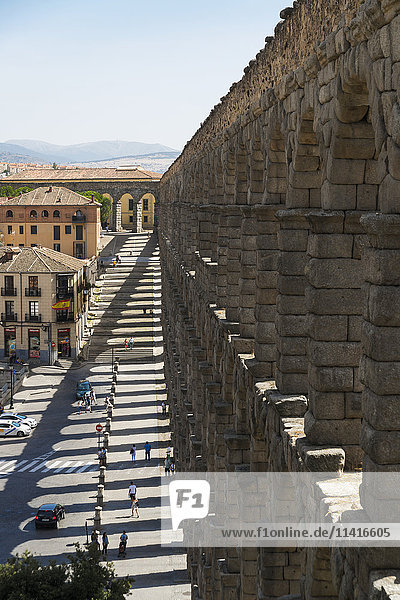 'Segovia's Aqueduct is one of the architectural symbols of Spain  built in the 2nd Century A.D; Segovia city  Castilla Leon  Spain'