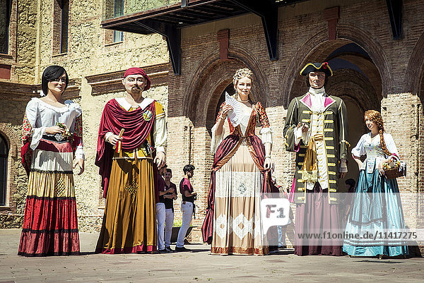 'Giants from Nou Barris district during Saint George's Day festivities; Barcelona  Catalonia  Spain'