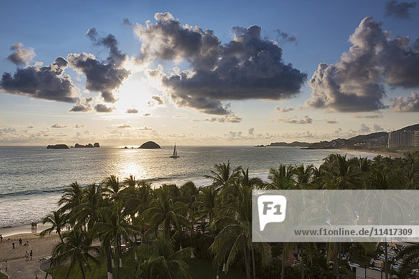 'Afternoon view over the palm trees out to the islands; Ixtapa  Mexico'