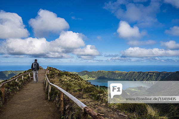 'The spectacular view from Sete Cidades; Sao Miguel  Azores  Portugal'