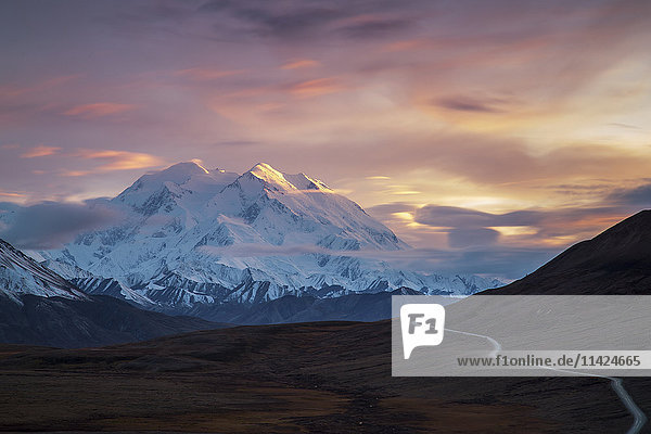 'Long exposure photograph of sunset on Denali  Denali National park; Alaska  United States of America'