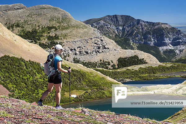 'Female hiker walking down a rocky hillside with alpine lake below and mountains in the distance with blue sky; Waterton  Alberta  Canada'