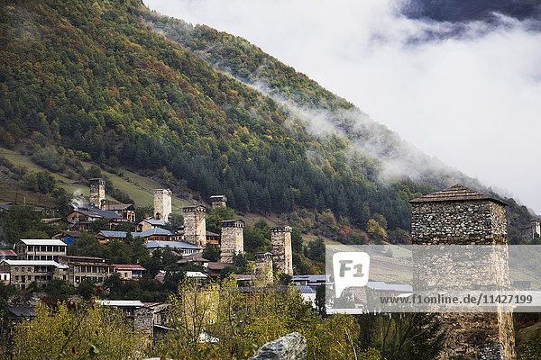 'Panoramic view with Svan towers; Mestia  Samegrelo-Zemo Svaneti  Georgia'