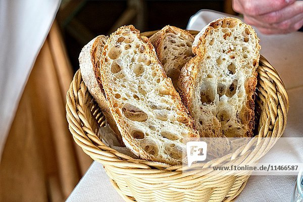 Basket of Sliced  Fresh Artisan Bread  Served at a Positano  Italy  Resturant.