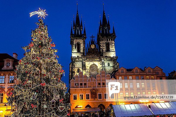 Czech Republic  Prague  Decorated Christmas tree on Old Town Square  shoppers at stalls  Christmas mood