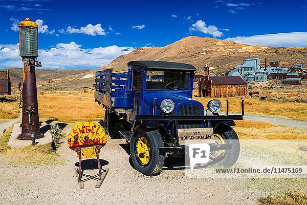 Dodge truck and gas pumps at the Boone Store  Bodie State Historic Park  California USA.