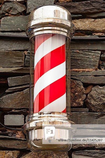 Barber's pole  barber's shop sign  Keswick  Lake District  Cumbria  England.