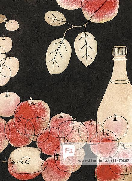 Äpfel  Zweig und Flasche