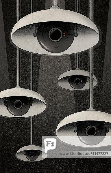 Augen von Überwachungskameras unter Lampenschirmen