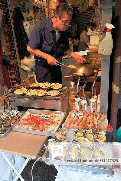 Japan  Tokyo  Tsukiji Market  street food stall .