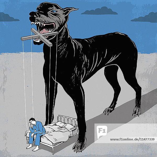 Aggressiver Hund hält einen Mann als Marionette bei Nacht