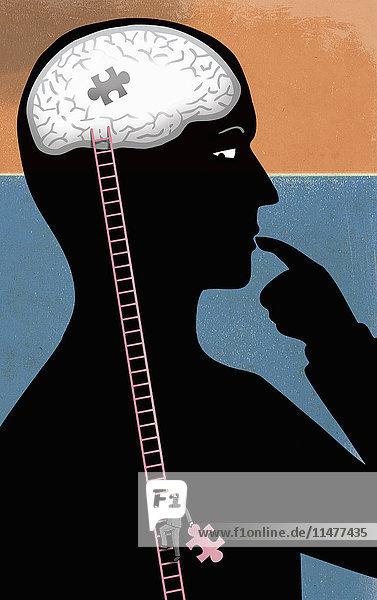 Mann steigt mit dem letzten Puzzleteil eine Leiter zum Gehirn einer Person hinauf