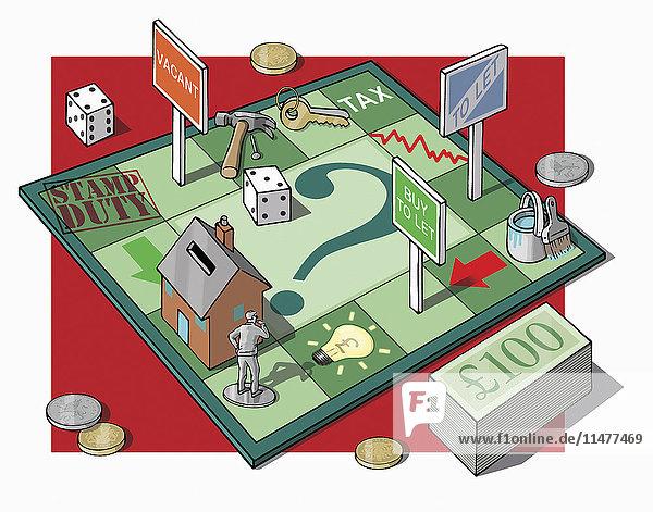 Mann auf Geld- und Immobilien-Brettspiel