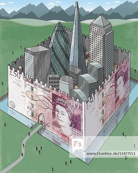 London Bürotürme hinter britischen Pfund Festung