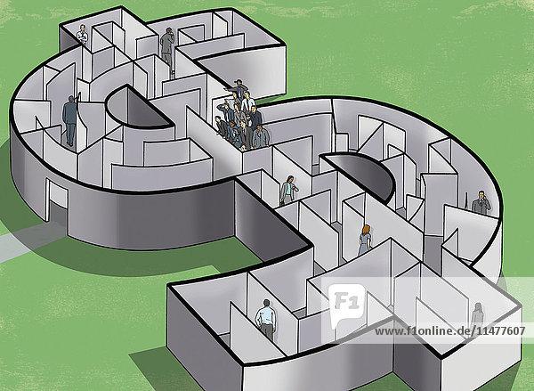 Geschäftsleute in einem Dollar-Labyrinth mit einem Team  das die Lösung findet