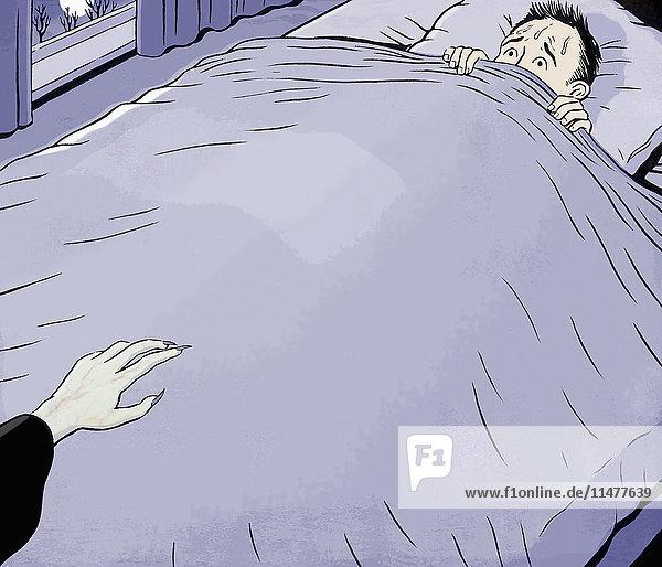 Ängstlicher Mann im Bett mit sich näherndem Vampir