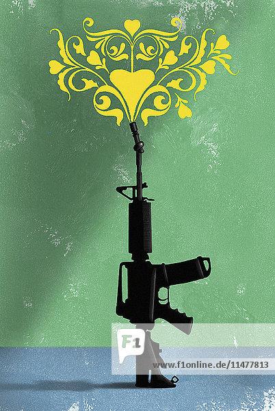Blumenmuster steigt aus einem Maschinengewehr