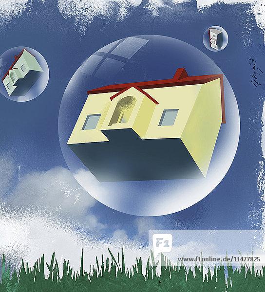 Häuser in Blasen schweben im Himmel