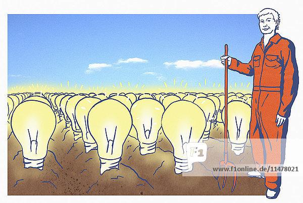 Bauer auf einem Feld mit Glühbirnen