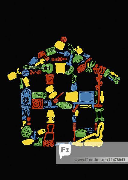Persönliche Sachen in Form eines Hauses