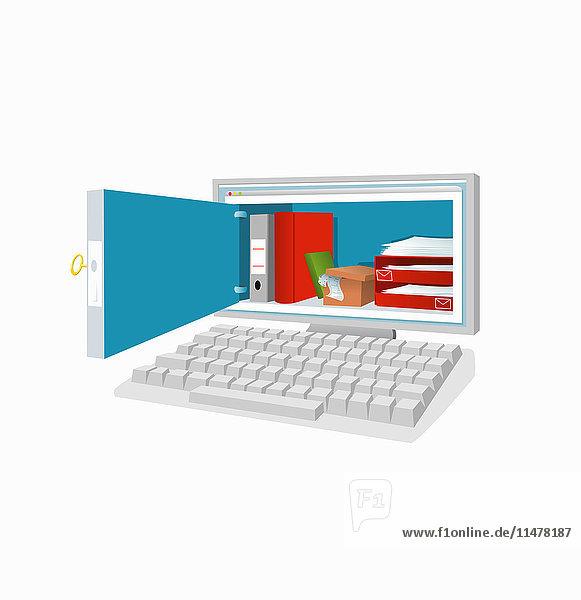 Büromaterialien in einem Computerbildschirm