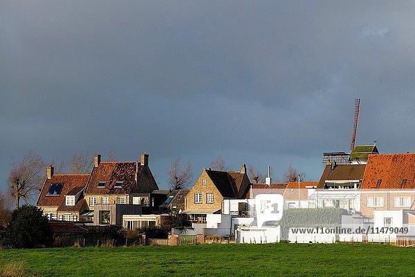 Belgium  Bruges-area  Damme  village buildings.