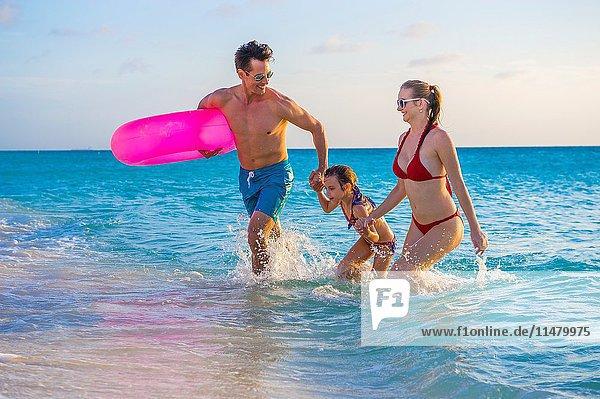 Family on the beach. Aruba  Caribbean