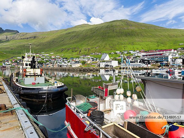 The harbour of the small town Fuglafjordur. The island Eysturoy one of the two large islands of the Faroe Islands in the North Atlantic. Europe  Northern Europe  Denmark  Faroe Islands.