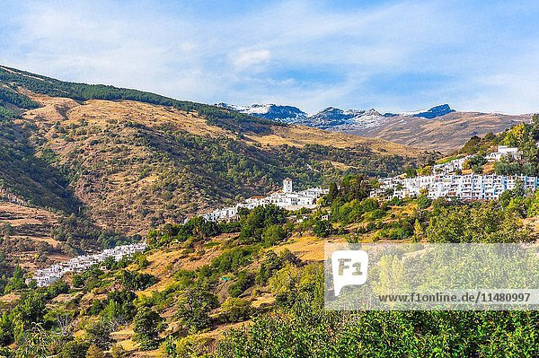 White village Capileira in the Alpujarra,  Andalusia,  Spain.