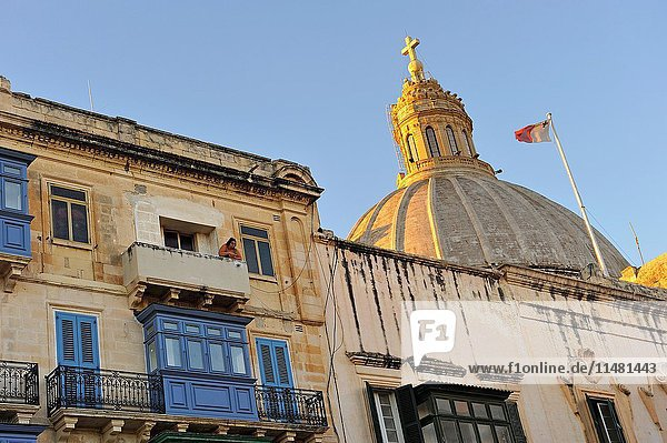 Dome of the Our Lady of Mount Carmel Church seen from the Independance Square  Valletta  Malta  Southern Europe.