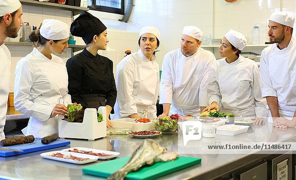 Chefs  Cooks in cooking school  Cuisine School  Donostia  San Sebastian  Gipuzkoa  Basque Country  Spain  Europe