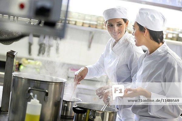 Chefs  Cooks in cooking school  Cuisine School  Donostia  San Sebastian  Gipuzkoa  Basque Country  Spain  Europe