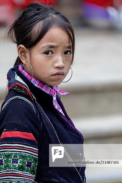 Black Hmong girl in Sapa  Vietnam  Asia.