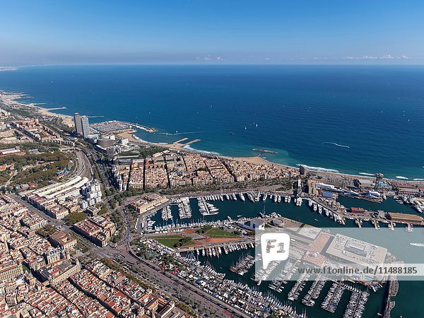 Aerial view of Barcelona coast line  sea port and beaches.