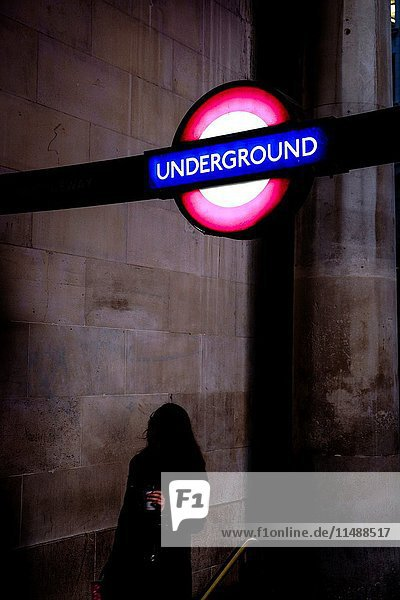 Subway sign in London  England  United Kingdom