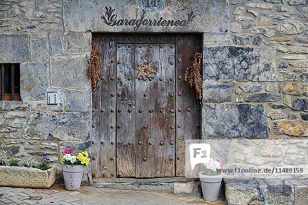 Entrance door  Aya  Gipuzkoa province  Basque Country  Spain  Europe.